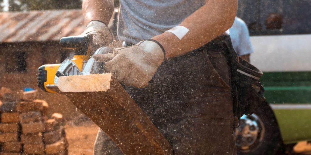 Cutting wood planks