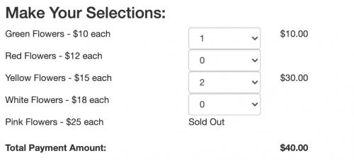 A screenshot of the product sales/ticket sales mode