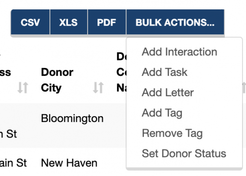A screenshot of the export and bulk action options