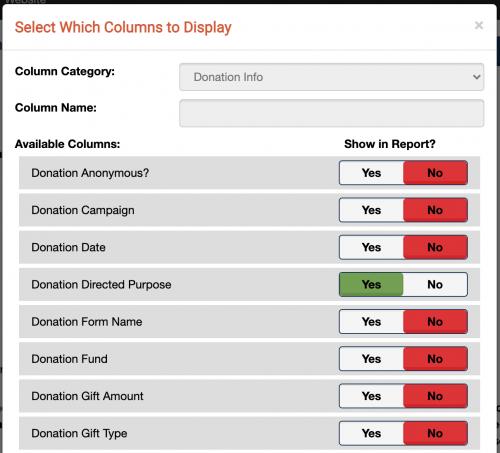 A screenshot of the Change Columns box