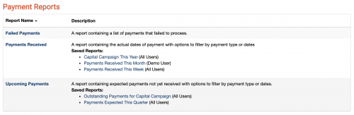 A screenshot showing some saved Payment reports