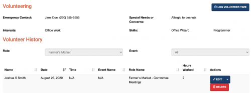 A screenshot of the volunteers tab on a donor's profile