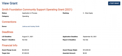 A screenshot showing how the system displays basic grant info